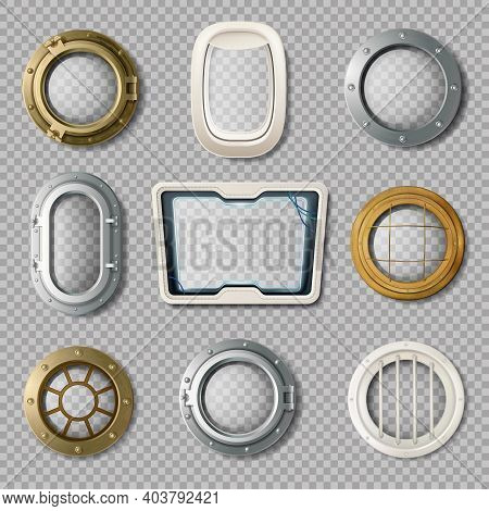 Realistic Set Of Metal And Plastic Portholes Of Various Shape On Transparent Background Isolated Vec