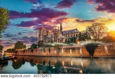 Morning Mist Over Notre Dame De Paris And River Seine