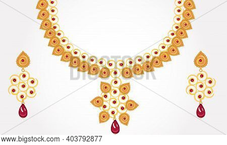 Jewelry Necklace Set With Ear Rings Set