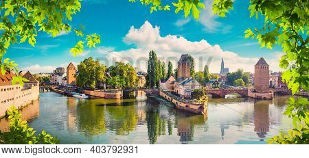 Panorama Of Covered Bridges And River Ill In Strasbourg