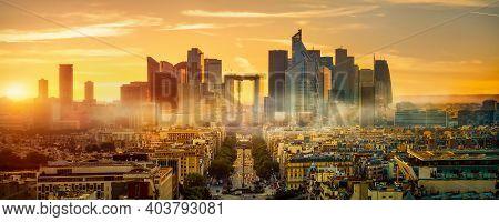 Parisian Skyscrapers District La Defense At Sunrise