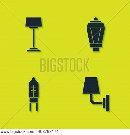 Set Floor Lamp, Wall Sconce, Light Emitting Diode And Garden Light Icon. Vector