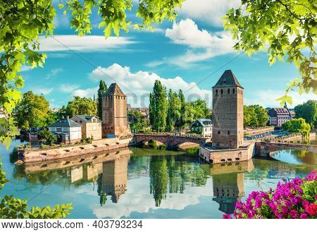 View Of Covered Bridges In Strasbourg At Spring