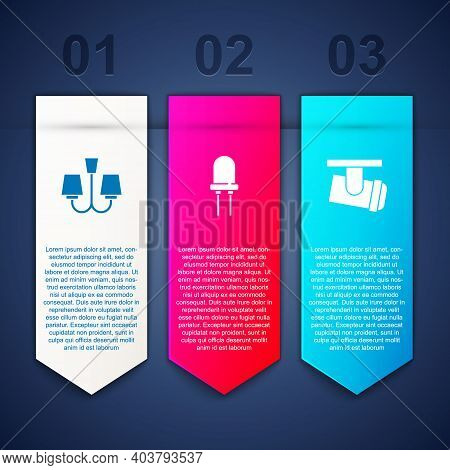 Set Chandelier, Light Emitting Diode And Led Track Lights Lamps. Business Infographic Template. Vect
