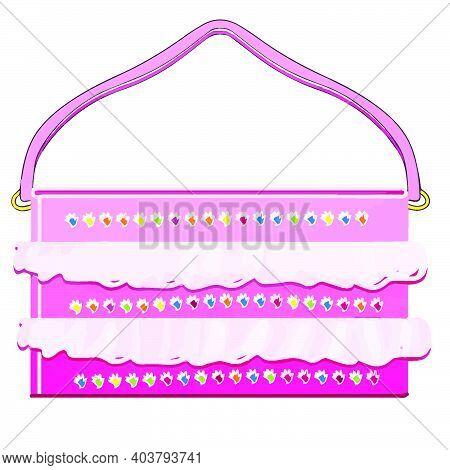 Girl Handbag Simple Illustration, Clutch Bag Pink Color For Lady - Vector Girlish Kid-like Cartoon P