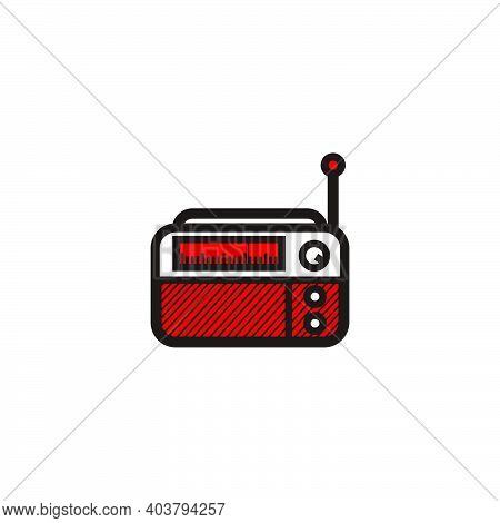 Red Classic Square Radio Style - Red And Black Vintage Square Radio Tuner - Vintage Classic Square R