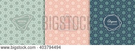 Modern Abstract Seamless Pattern Collection. Stylish Geometric Textures With Hexagons, Floral Shapes
