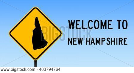 New Hampshire Map Road Sign. Wide Poster With Us State Outline On Yellow Rhomb Signboard. Vector Ill