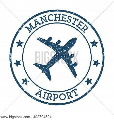 Manchester Airport Logo. Airport Stamp Vector Illustration. Manchester Aerodrome.