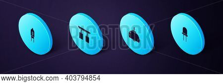 Set Isometric Light Emitting Diode, Chandelier, Led Track Lights Lamps And Icon. Vector