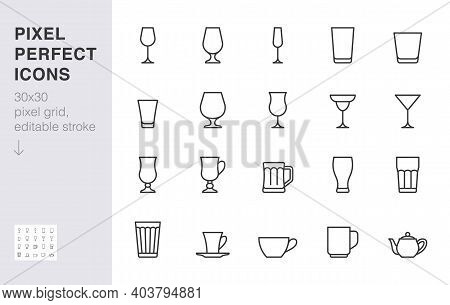 Glass Line Icon Set. Drink Glassware Type - Beer Mug, Whiskey Shot, Wineglass, Teapot Minimal Vector