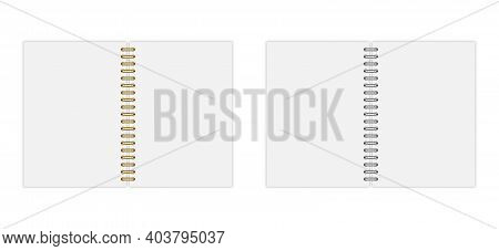 Vector Set Of Open Notebook Mockup (format: A5), With Gold And Silwer Spiral. Eps 10
