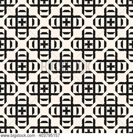 Vector Geometric Seamless Pattern With Square Shapes, Crosses, Diamonds, Lines, Grid, Lattice. Simpl