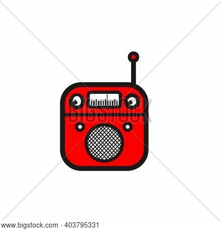 Red And Black Classic Square Portable Radio With Circle Speaker - Red And Black Vintage Square Porta