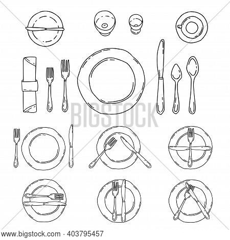 Table Settings Isolated On A White Background. Serving In Doodle Style With Plate, Forks, Spoons, Kn
