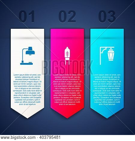 Set Table Lamp, Light Emitting Diode And Vintage Street Light. Business Infographic Template. Vector