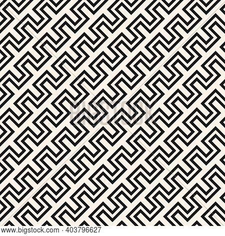 Vector Geometric Lines Seamless Pattern. Simple Texture With Stripes, Diagonal Snake Lines, Zigzag.