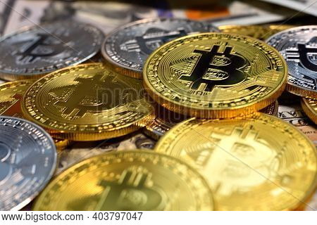 Close Up Of Golden And Silver Bitcoin Money. Virtual Money And Payment Concept.