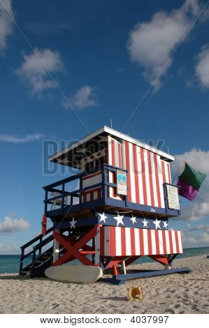 Patriotic Lifeguard Tower In South Beach
