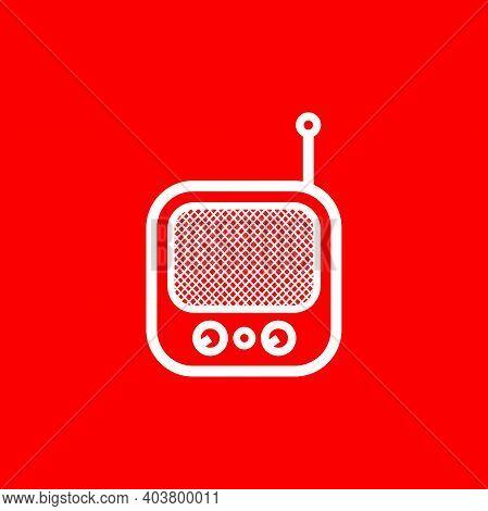 Silhouette Of Classic Square Portable Radio - Vintage Square Portable Radio Tuner - Vintage Classic