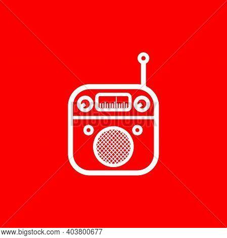 Silhouette Of Classic Square Portable Radio With Circle Speaker - Vintage Square Portable Radio Tune