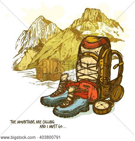 Trendy Hand Drawn Hiking Poster With Boots Compass And Backpack On Mountains Landscape Background Ve