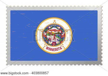 Minnesota Usa Flag On Old Postage Stamp, Vector