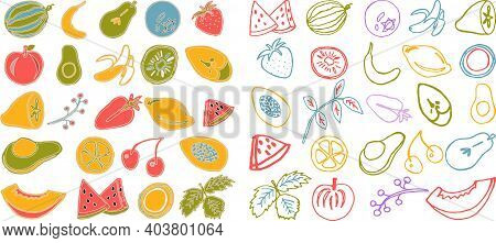 Collection Of Cartoon Juicy Fruits, Leaves  And Berry. Vector Illustration. Set Of Colorful Fruit An
