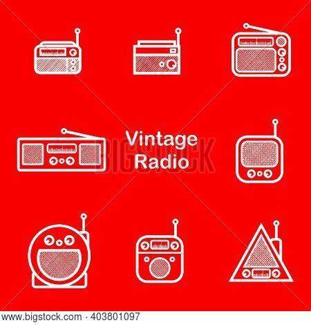 Classic Radio Silhouette Style - White Vintage Square Radio Tuner - Vintage Classic Square Radio Sil
