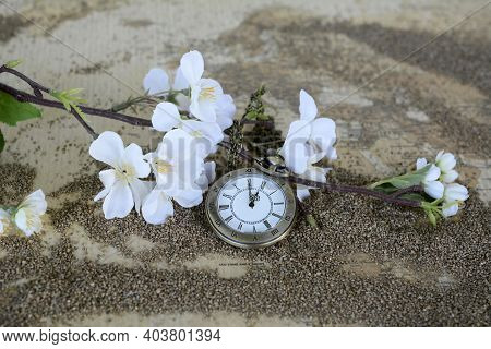 Retro Pocket Watch And Cherry Flower On The Old Map. Vintage Clock On Sand Beach. Summer Vacation Ti