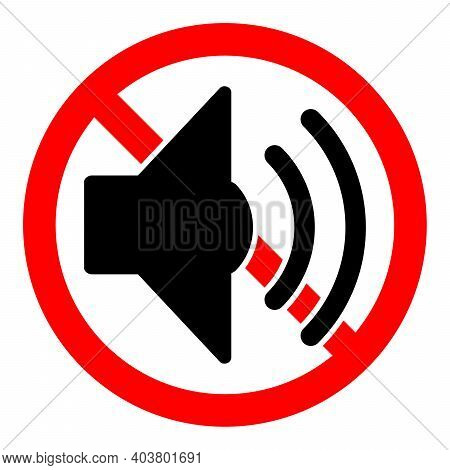 Volume Sound Ban Icon. Loud Sound Is Prohibited. Stop Or Ban Red Round Sign With Volume Sound Icon.