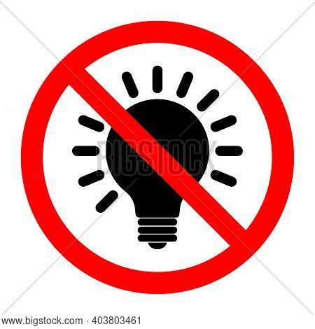 No Light Bulb Icon. Light Bulb Is Prohibited. Stop Or Ban Red Round Sign With Light Bulb Icon. Vecto