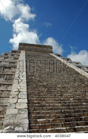 Steps Leading To Top Of Mayan Pyramid