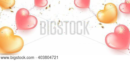 Festive Banner With Pink And Gold Heart-shaped Balloons, Confetti And Serpentine.card Happy Birthday