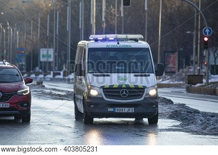 Madrid, Spain - January 17, 2021: An Ambulance Of The Public Health Service, Samur, 112, In Emergenc