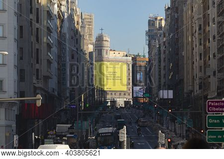 Madrid, Spain - January 17, 2021: General View Of Gran Via Street Flooded With Lights And Shadows Ma