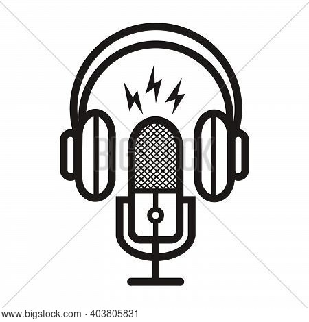 Silhouette Of Podcast Microphone With Lightning Sign For Broadcast, Music Icon, Etc - Silhouette Of