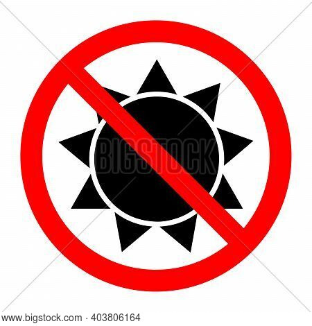 Stop Or Ban Red Round Sign With Sun Icon. Vector Illustration. Forbidden Sign