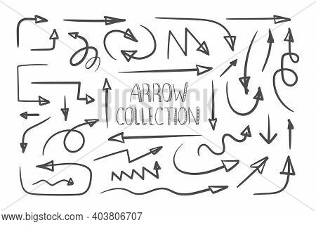 Arrows. Collection Of Hand Drawn Arrows. Handmade Sketch. Arrows Icons Set. Hand Drawn Pointers. Vec