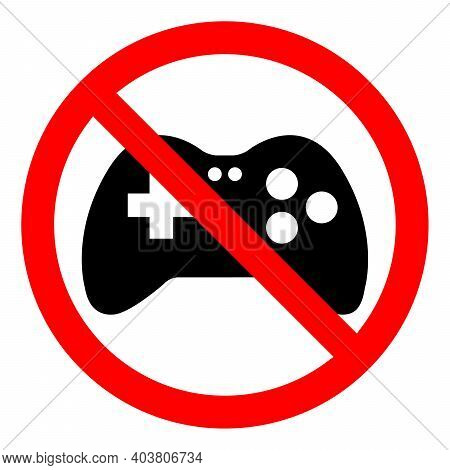 No Gaming Sign. Game Joystick Icon. Forbidden Sign. Game Is Prohibited. Vector Illustration.