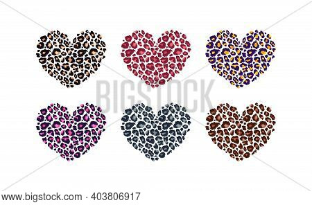 Leopard Print Textured Hearts Set. Abstract Design Element With Wild Animal Cheetah Skin Spot Patter