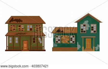 Abandoned Houses And Two-storeyed Buildings With Boarded Up Windows And Ruined Roof Vector Set