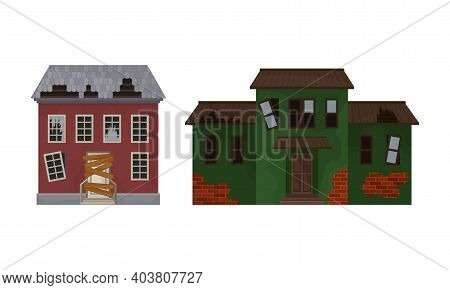Deserted Ruined Houses And Two-storeyed Buildings With Boarded Up Window And Broken Roof Vector Set