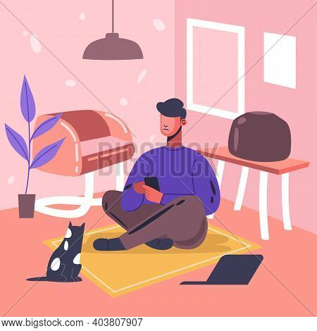 Man With Phone In Hands Sitting On Carpet At Home Interior. Flat Design Illustration. Vector