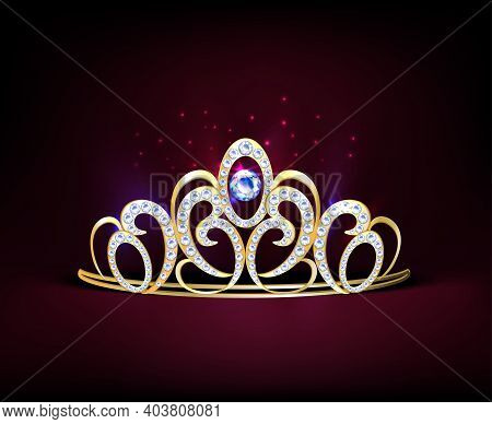 Colored Golden Realistic Diadem Composition With Diamonds And Big Gemstone In Center Vector Illustra