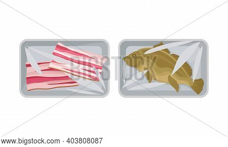 Fish And Sliced Bacon In Plastic Serving Tray Vector Set
