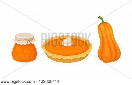 Sweet Pumpkin Dessert With Jam In Jar And Pie Vector Set