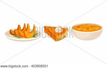Pumpkin Foodstuff With Porridge In Bowl And Piece Of Pie Vector Set