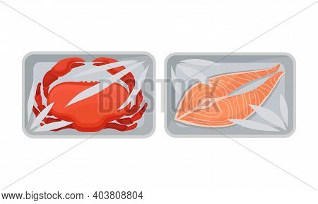 Salmon Steak And Crab In Plastic Serving Tray Vector Set