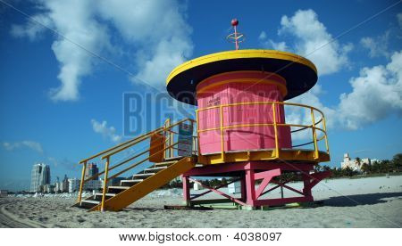 Profile Of Pink Lifeguard Tower In South Beach